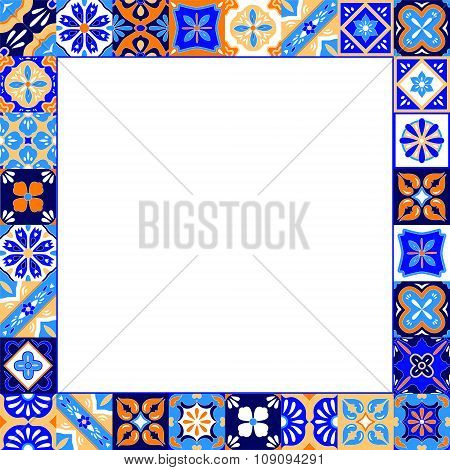 Mexican stylized talavera tiles frame in blue orange and white, vector