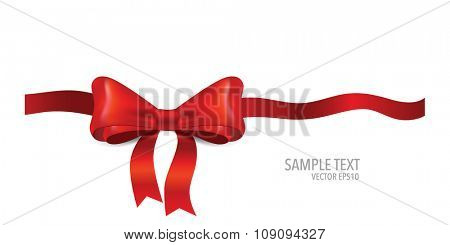 Gift bow and shiny red ribbon on white background with copy space. Vector illustration.