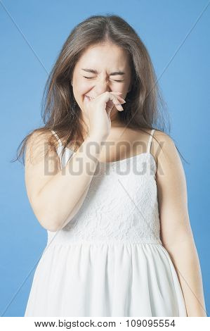 Girl In A White Dress Laughing.