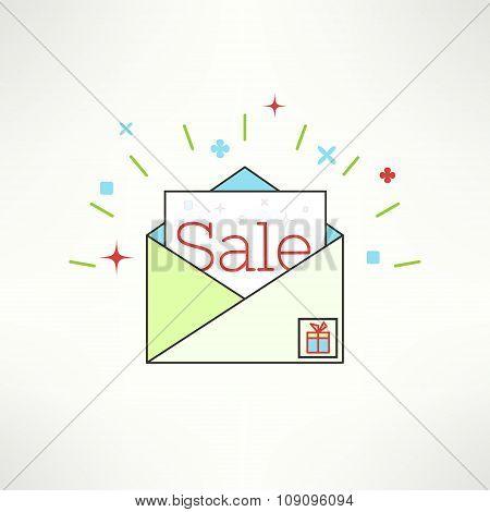 Vector sale envelope in modern flat design. Email advertisement and promotional newsletter design el