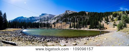 Panorama of Stella Lake with Jefferson and Wheeler Peaks in the background at Great Basin National Park Nevada