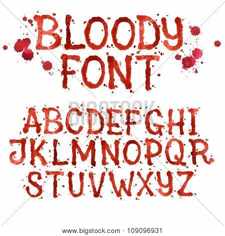 Watercolor aquarelle font type handwritten hand drawn doodle abc alphabet blood and blots stain spla