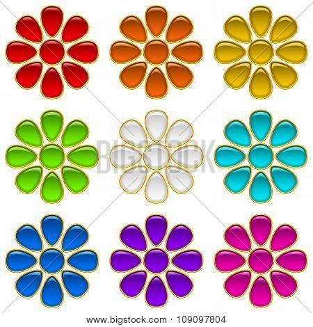 Colorful Buttons Set, Flowers