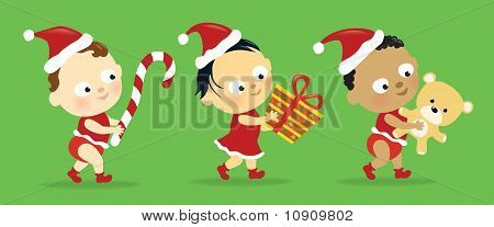Christmas babies w/ presents