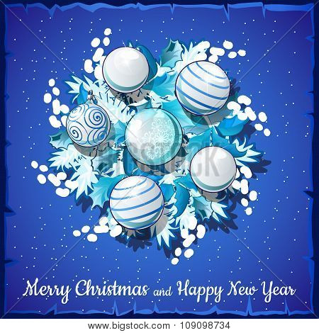 Christmas card on a blue background silver wreath with balls