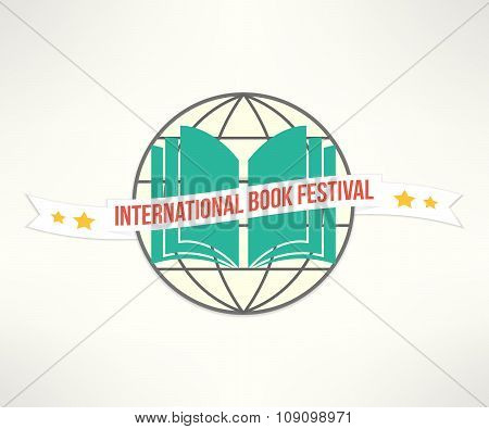 Vector book festival sign and logo in simple and clean flat design. Reading fest promotional poster