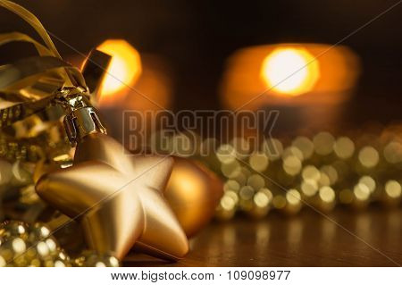 New Year Decoration With Defocussed Candles Lights, Bokeh In The Background