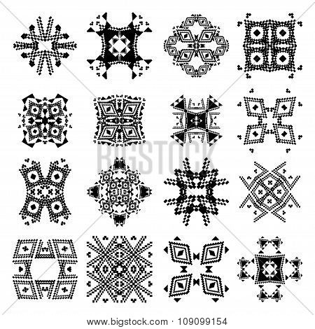 Vector Set Of Tribal Black And White Decorative Patterns For Design