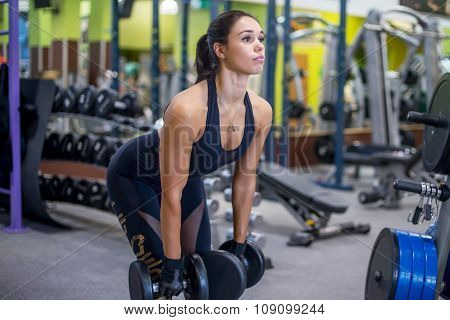 Fit woman fitness performing doing deadlift exercise with dumbbell.