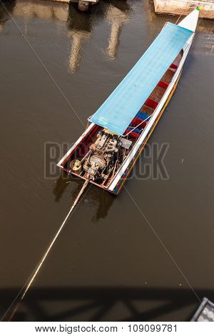 Moored Long Tail Boat