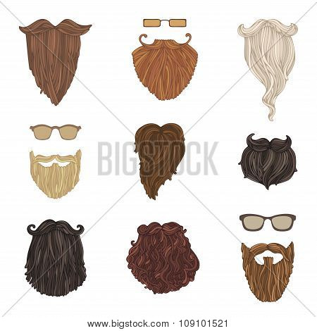 Hipster Fashion Man Beards And Eyeglasses.