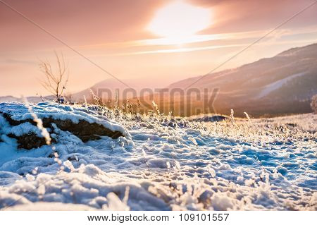 Fantastic Sunset In The Winter Mountains.