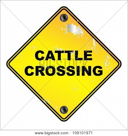 Yellow Cattle Crossing Sign