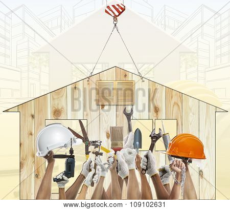 Home And Hand Rising Diy Tool Equipment Against Wood House Use For Home Craftman Repair And Maintena