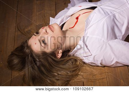 Dead Nurse Lying On The Floor