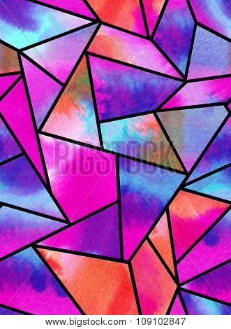 seamless watercolor geometric pattern.