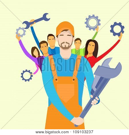 People Group Service Technical Support Team Hold Wrench