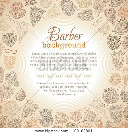 Hipster Beards And Eyeglasses Vector Background.