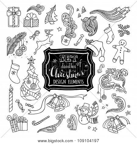 Vector Set Of Doodles Christmas Design Elements.