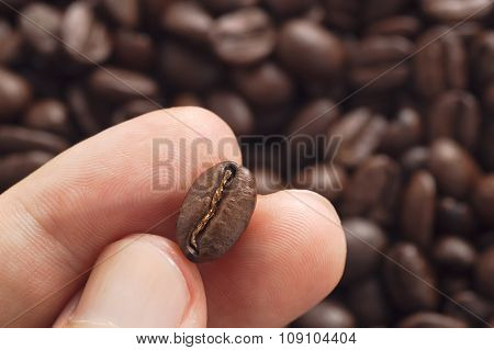 Three Fingers Holding Coffee Bean With Blurred Other Beans Scattered Behind