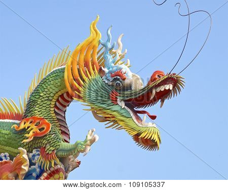 The dragon of decoration closeup