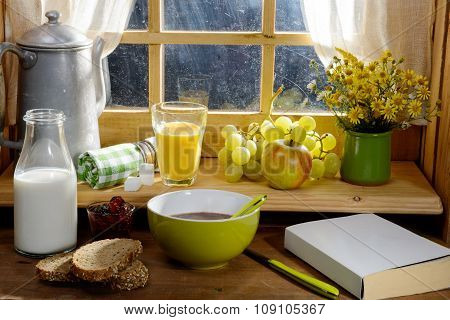 Breakfast With Milk, Bread, Apple And Grape