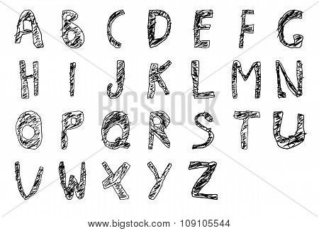 Hand drawn child English alphabet Filled Bold