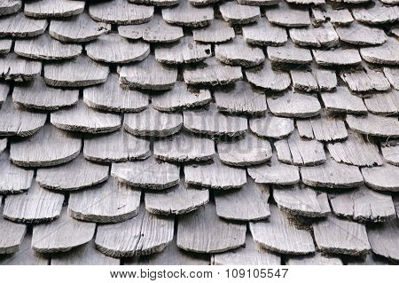 Roof tiles made of wood texture background