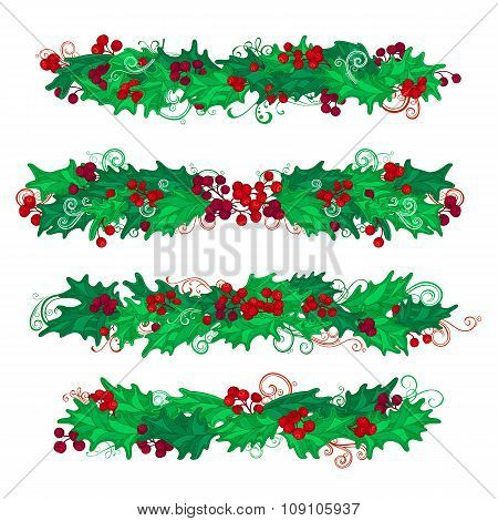 Vector Set Of Holly Berries Design Elements.