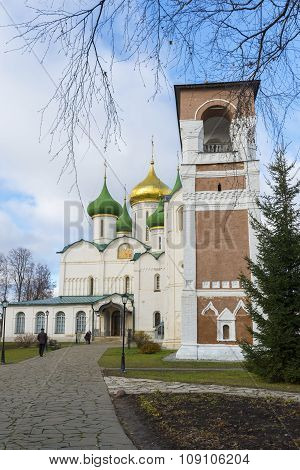 Suzdal, Russia -06.11.2015. Transfiguration Cathedral and belfry at  St. Euthymius monastery in Suzd