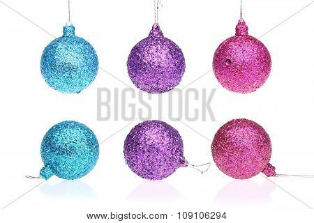 Blue, Purple And Pink Xmas Ball. Christmas Ornament On Isolated Background.