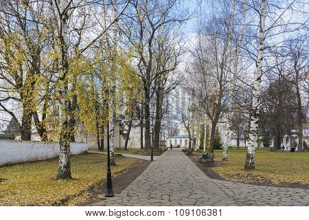 Suzdal, Russia -06.11.2015. Park on the territory of   St. Euthymius monastery in Suzdal. Golden Rin