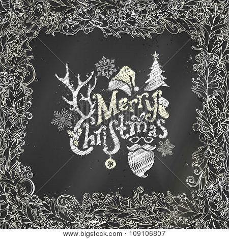 Chalk Merry Christmas Background.