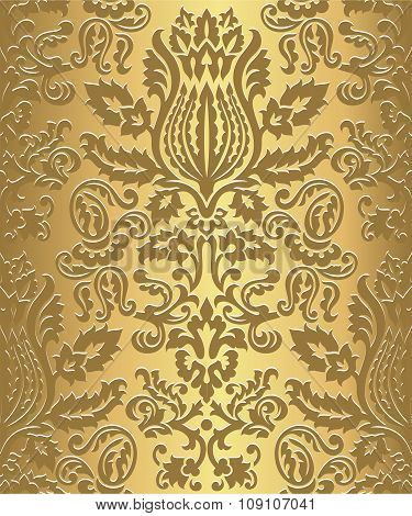 Gold Damask Wallpaper Pattern