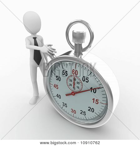 3D Man With Stop Watch