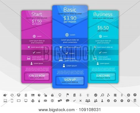 Light Pricing List With 3 Options. Different Shapes Of Tables. Icon Set Included