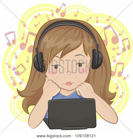 Girl with earphones.