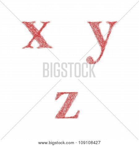 Red sketch font set - lowercase letters x, y, z