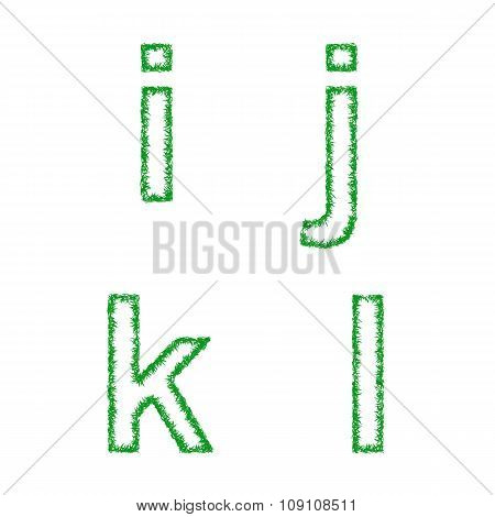 Green grass font set - lowercase letters i, j, k, l