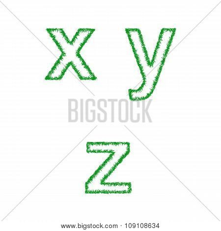 Green grass font set - lowercase letters x, y, z