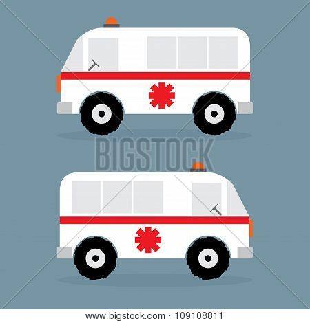 Ambulance Car Flat Design. Vector Lllustration,