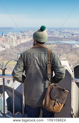 Tourist enjoying in New York City panoramic view.