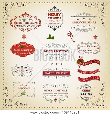 Christmas And New Year Calligraphic And Typographic Design Elements