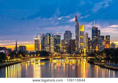 Frankfurt am Mine Skyscraper skyline building at dusk Germany