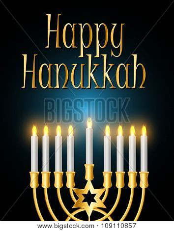 Happy Hanukkah, Jewish Background. Vector Illustration.