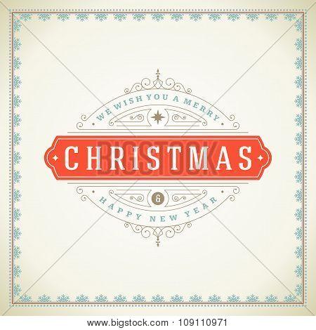 Christmas retro typographic and flourishes ornament decoration.