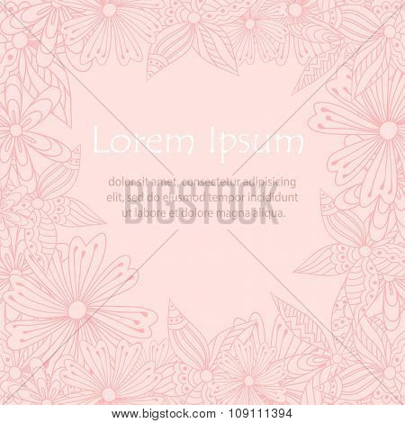 Doodle flowers frame for greeting card in pale colors