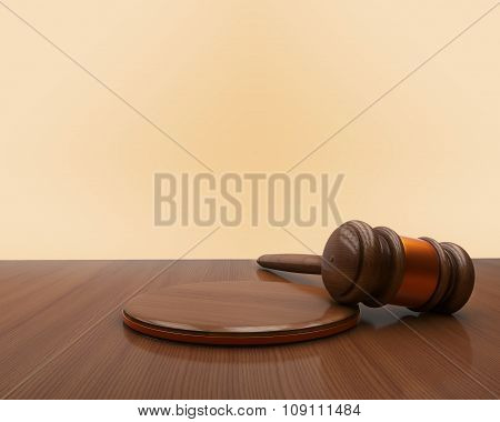Judge Gavel And Sound Board On Wooden Background.