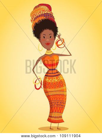 Cartoon beautiful African woman in turban and traditional costume with ethnic geometric ornament ful