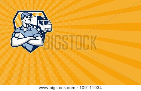 Business Card Removal Man Moving Delivery Van Crest Retro